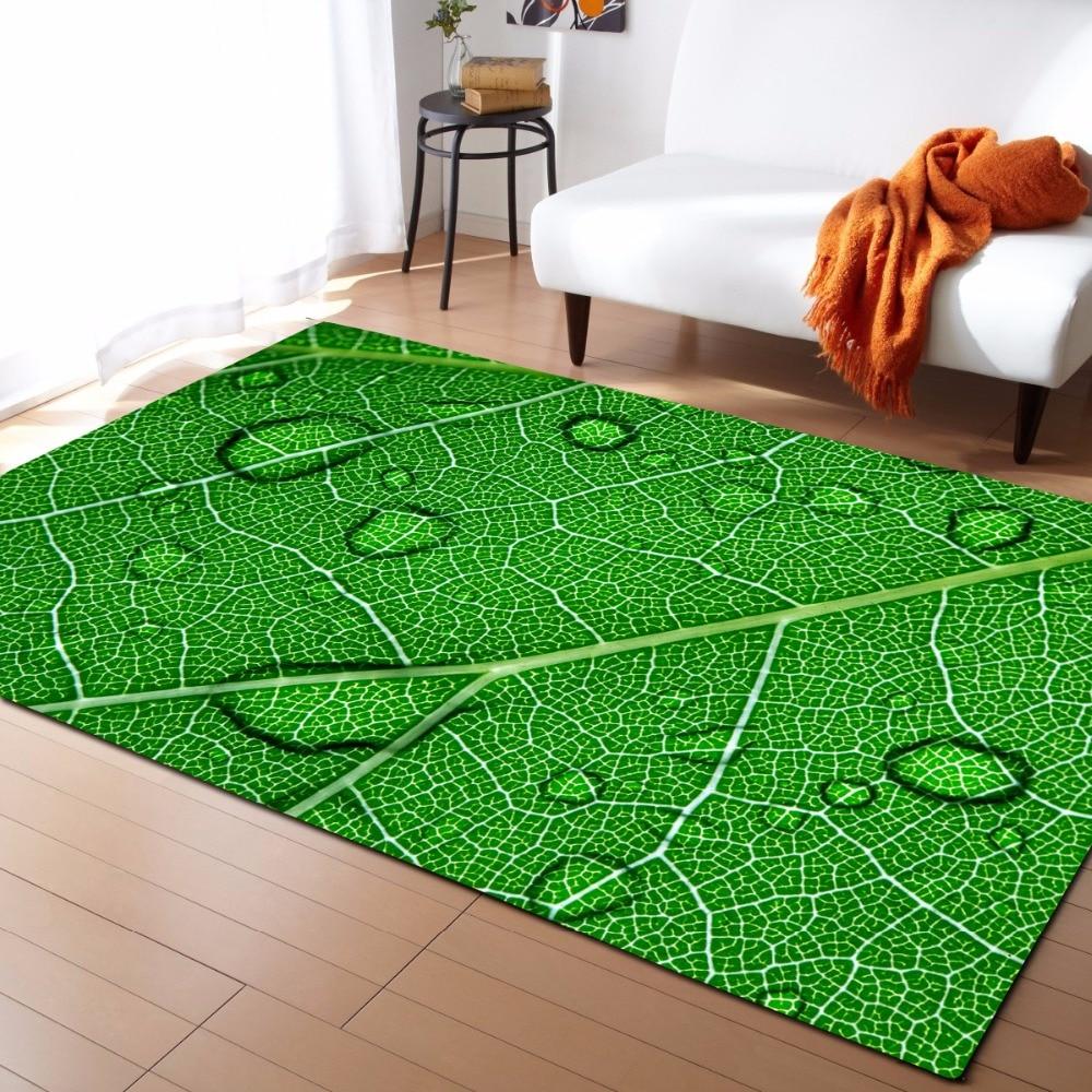 Large 3D Carpets Green Leaf Vein Rug Bedroom Kids Room Play Mat Memory Foam Area Rugs Carpet for Living Room Home Decorative
