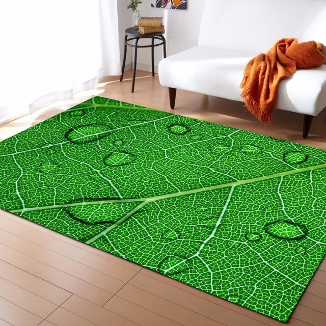 Large 3d Carpets Green Leaf Vein Rug Bedroom Kids Room Play Mat