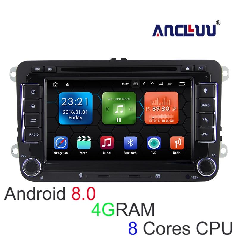4g RAM Android 8.0 VW Lecteur DVD GPS Navigator Pour VW Beetle Caddy CC Golf Polo Jetta Tiguan T5 voiture radio bluetooth wifi