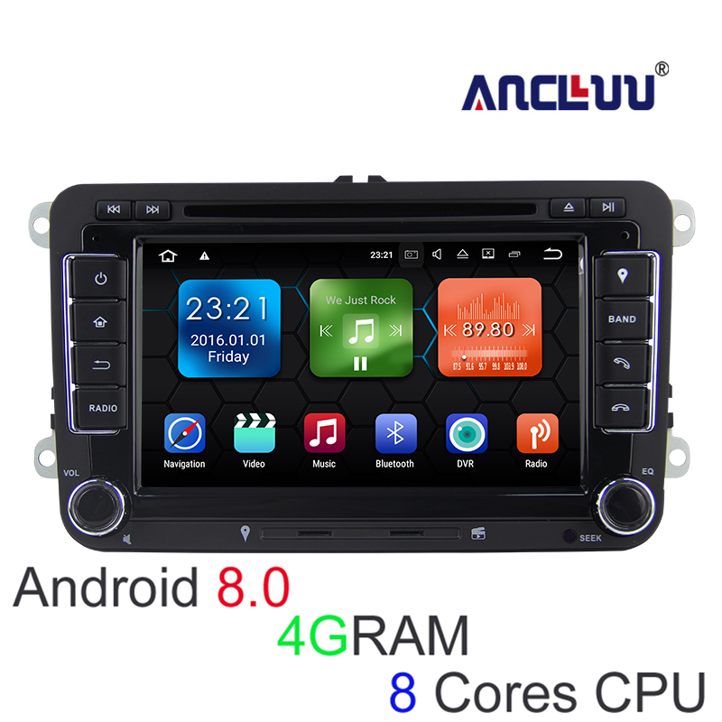 4g RAM Android 8.0 VW Lecteur DVD GPS Navigator Pour VW Beetle Caddy CC Golf Polo Jetta Tiguan T5 voiture radio bluetooth wifi