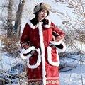 MX153 Nova Chegada 2016 do vintage étnica impressa da camurça do falso pele de coelho patchwork longo grosso casaco de inverno quente mulheres