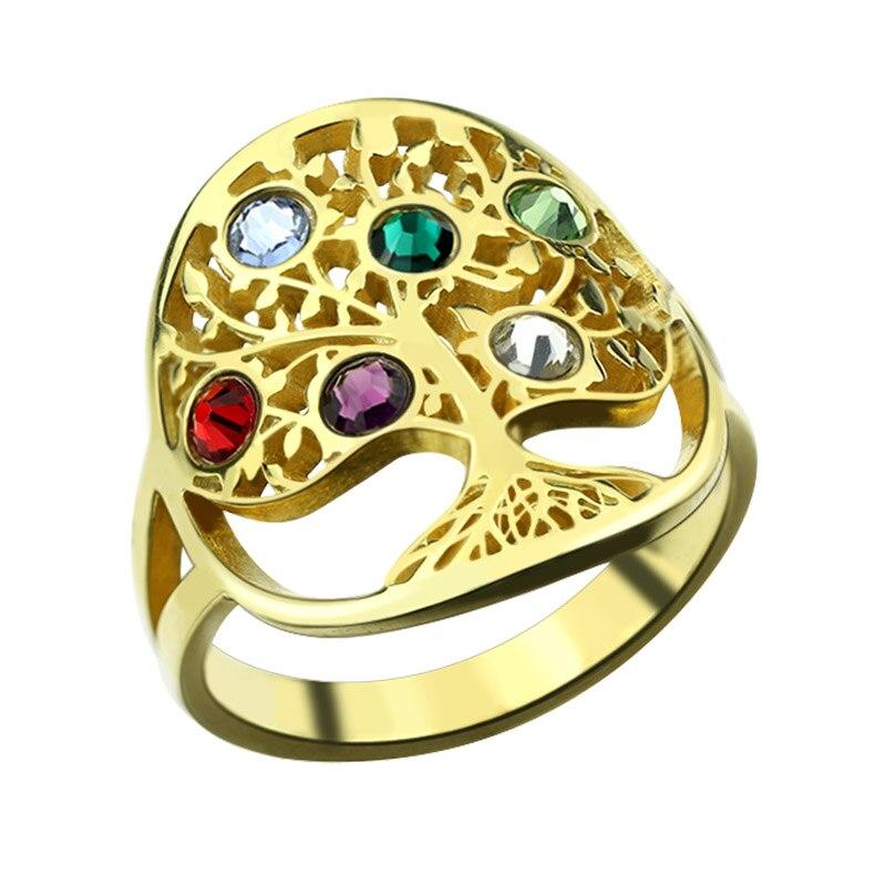 Оптовая продажа Древо жизни Золотое кольцо Цвет камень кольцо стерлингового серебра Семья дерево кольцо пользовательские матери кольцо