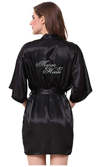 personalize glitter wedding Bachelorette Bridesmaid bride satin pajamas robes maid of honor kimonos gowns gifts party favors