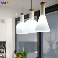 IWHD Modern Creative LED Pendant Lights Glass Lampshade Bottle Pendant Lamp Flask Design Fixtures Home Lighting Hanglamp