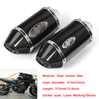 38 51mm Motorcycle Real Carbon Fiber Tail Exhaust Pipe Without DB Killer For Yamaha MT09/07/R6 Kawasaki Z750/800