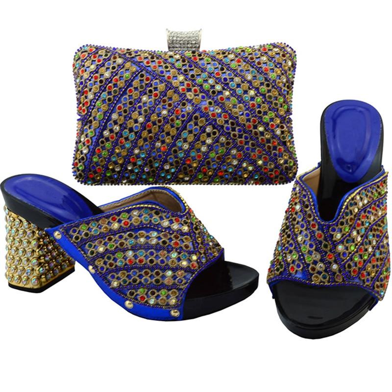 Conjunto Africana De oro Negro rojo Cuero Señoras Zapatos verde Decorado Italiano Italianas púrpura Con Boda Rhinestone Púrpura Real azul Y Bolsa OCq8C5