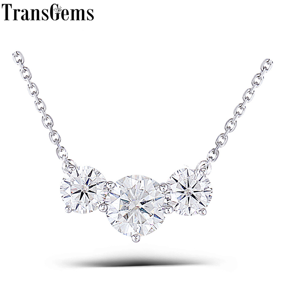 Transgems 18K White  Gold 2 ctw Carat Lab Grown moissanite Diamond Solid  Pendant Necklace Wedding Birthday GiftTransgems 18K White  Gold 2 ctw Carat Lab Grown moissanite Diamond Solid  Pendant Necklace Wedding Birthday Gift