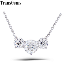 цены Transgems 18K White  Gold 2 ctw Carat Lab Grown moissanite Diamond Solid  Pendant Necklace Wedding Birthday Gift