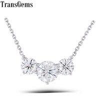 Transwems 18 к белое золото 2 ctw карат Выращенный в лаборатории Муассанит Алмаз цельнолитой кулон ожерелье подарок для свадьбы дня рождения