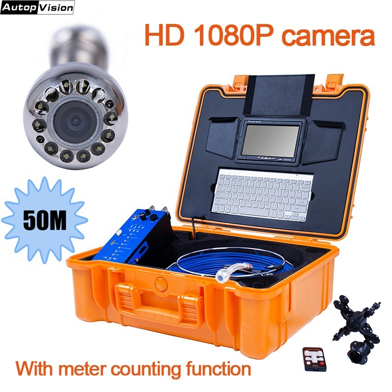 50M HD Recorer Waterproof Pipeline Endoscope Borescope 25mm 1080P Pipe Drain Sewer Inspection Camera System Keyboard DVR SD H1