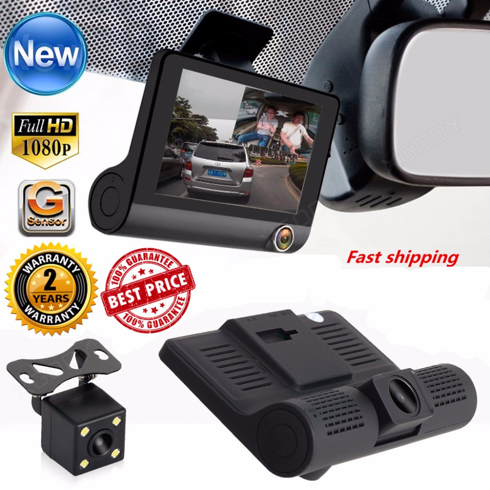 4 inch HD 1080P Car DVR Camera New Dual Lens Vehicle Dash Cam Rear Video G-sensor Camera Recorder Night Vision car-detector dual lens car dvr g30b front camera full hd 1080p external rear camera 720 480p h 264 g sensor dash cam two cameras