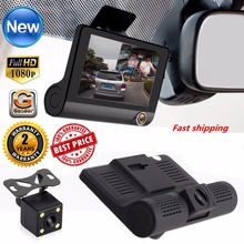 Best price 4 inch HD 1080P Car DVR Camera New Dual Lens Vehicle Dash Cam Rear Video G-sensor Camera Recorder Night Vision car-detector