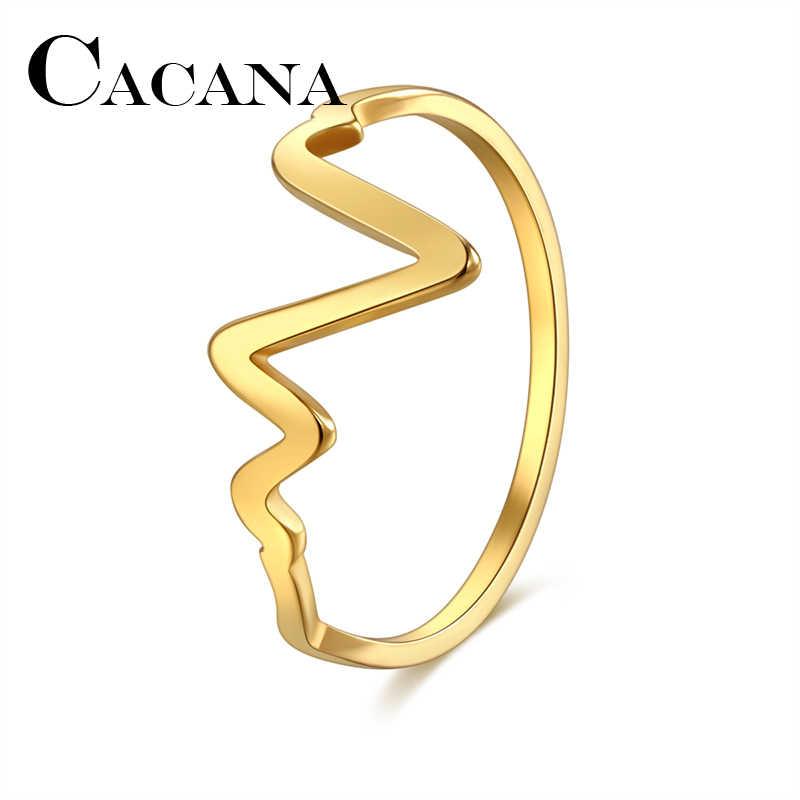 CACANA yüksek kalite benzersiz tasarım V şekli kakma yüzük kadınlar alyans paslanmaz çelik gül altın rengi lüks aşk yüzük