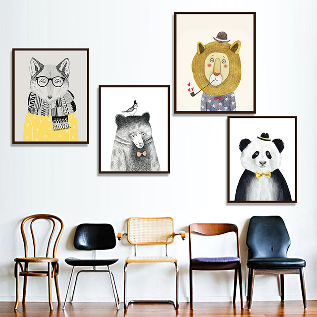 Art Prints Poster Wall Picture Canvas Painting Kids Room Home Decor  Watercolor Nordic Animal Lion Bear Panda Wall Painting Art