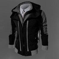 2016 Men Hot Sale Autumn Fake Two Layer Zipper Hoodies And Sweatshirt Color Contrast Men Hoody