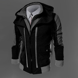 2016 men hot sale autumn fake two layer zipper hoodies and sweatshirt color contrast men hoody.jpg 250x250