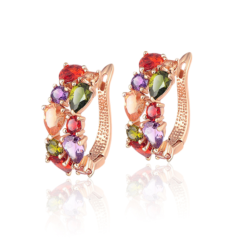 Kinel Charm Zircon Jewelry Rose Gold Colorful Crystal Ring Christmas Gift Wedding Accessories