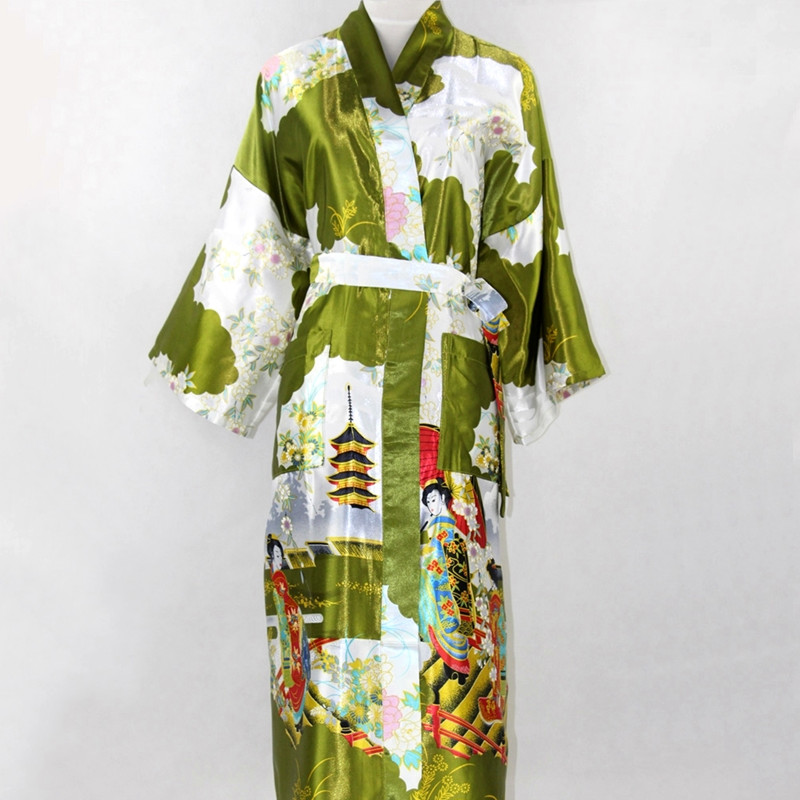 Army green Fashion Chinese Womens Polyester Satin Painted Kaftan Peri Kimono Bath Robe Gown Bathrobe With Belt Plus size M-XXXL