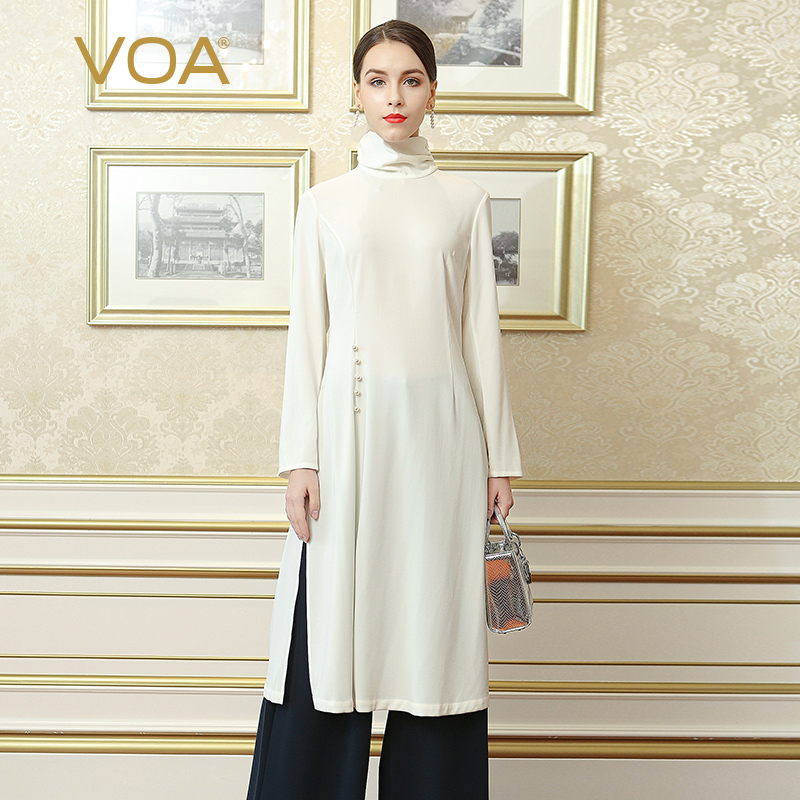 VOA 2018 Automne Plus La Taille Simple Solide Blanc Lourd Soie Mince Femmes Tee Perles Bref Style Chinois Col Haut Long tops BZX00301