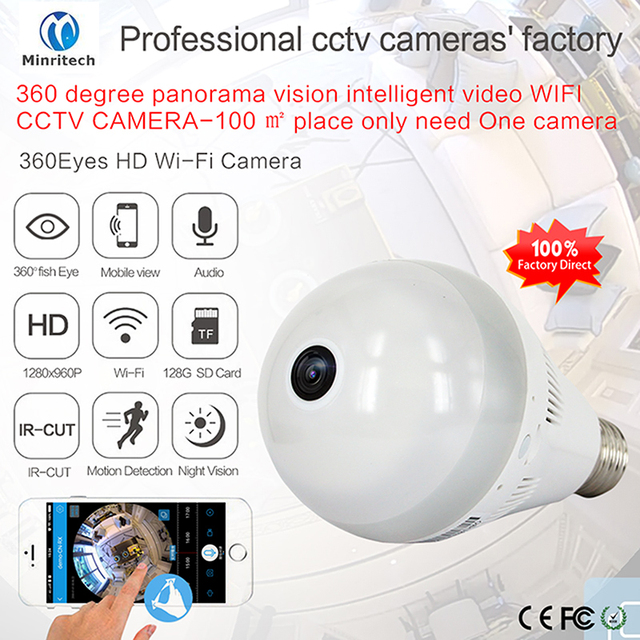 360 Degree Wifi IP Camera Network Wireless HD Camera Baby Monitor CCTV Security Camera Bulb EC Network Panoramic Camera
