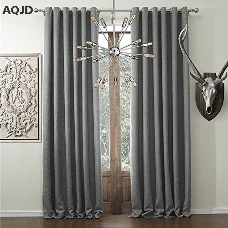 Solid Faux Linen Classic Room Darkening Blackout Gray