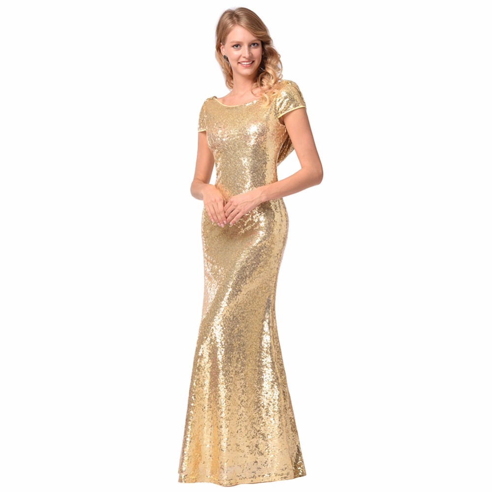 Women Maxi Vestidos Short Sleeve Halter Sexy Solid Color Dresses Sequined Bridesmaid Package Hips Femme Gold Long Dress MZ2407