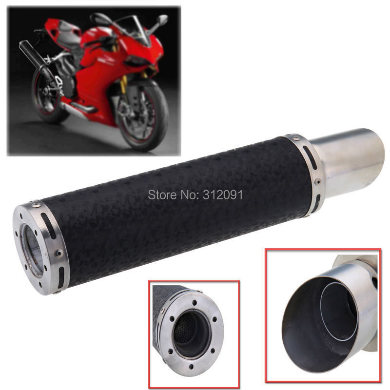 (Ship from Germany) Universal Carbon Fiber Motorcycle Exhaust Pipe Muffler Silencer Slant Tip