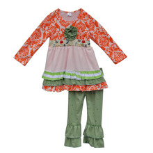 Fashion Giggle Moon Remake Baby Clothing Floral Kids Clothes Children Girls Boutique Clothing With Ruffle Pants F076