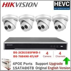 Hikvision 4CH System kamer CCTV POE NVR zestaw Onvif HD 8MP 4K POE kamera IP wodoodporny System kamer bezpieczeństwa nocnego