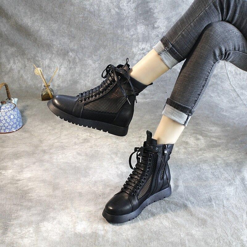 النساء الأحذية الجلدية الصنادل كعوب منخفضة الأسود الصيف أحذية النساء الشارع دراجة نارية الأحذية جلد طبيعي حذاء من الجلد الجوف خارج-في أحذية الكاحل من أحذية على  مجموعة 1