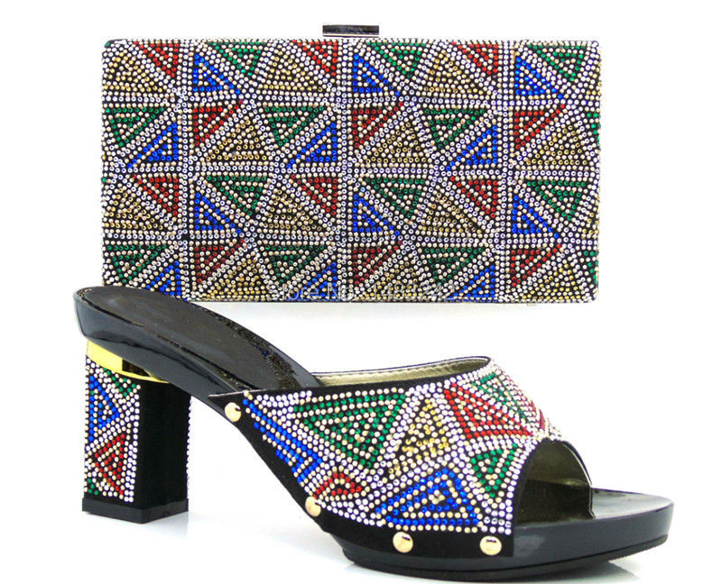 0875 wax hanbag set Hot Sale African Woman Platform Shoes And Bag Set Wholesale African High Heels Matching Bag In Stock