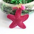 2016 Nueva Encanto Llavero Colgante llavero de cuero Starfish Borla bolsa llaveros Titular llavero para Las Mujeres de Regalos de joyería de Regalo