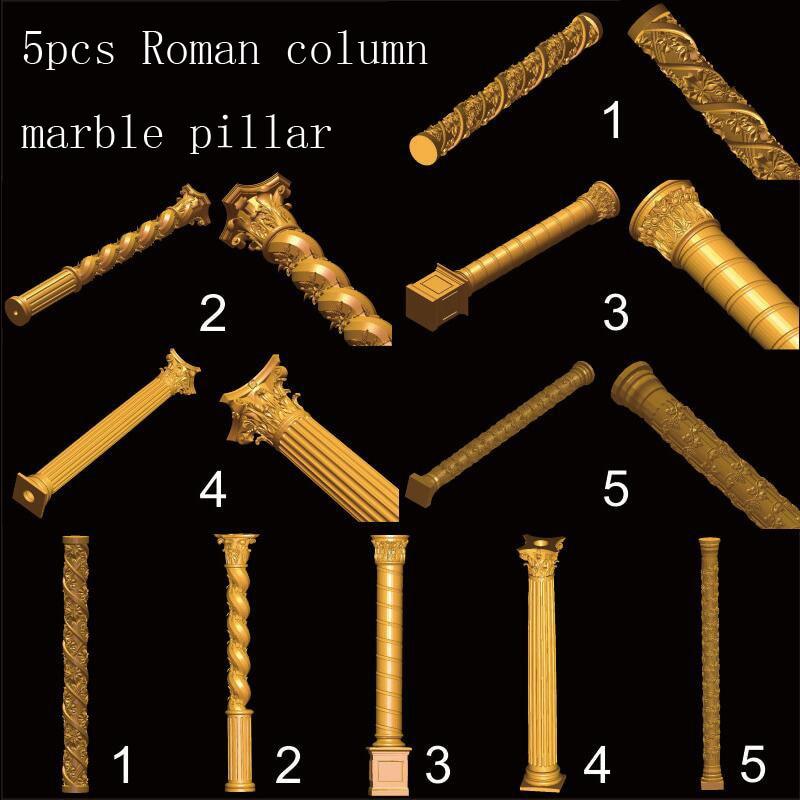 5pcs Roman Column 3D STL Model For Carved Figure Cnc Machine Router Engraver ArtCam Marble Pillar Model Design