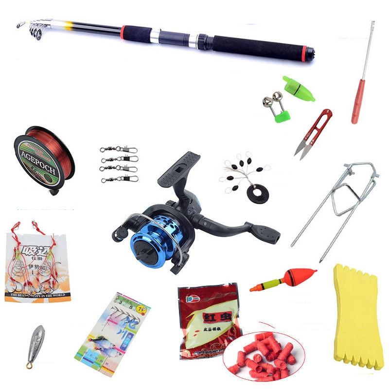 16PCS fishing gear combination 2.1M-3.6Mfishing rod 200 series Fishing reel. Stent Fishing hooks Bait Fishing line