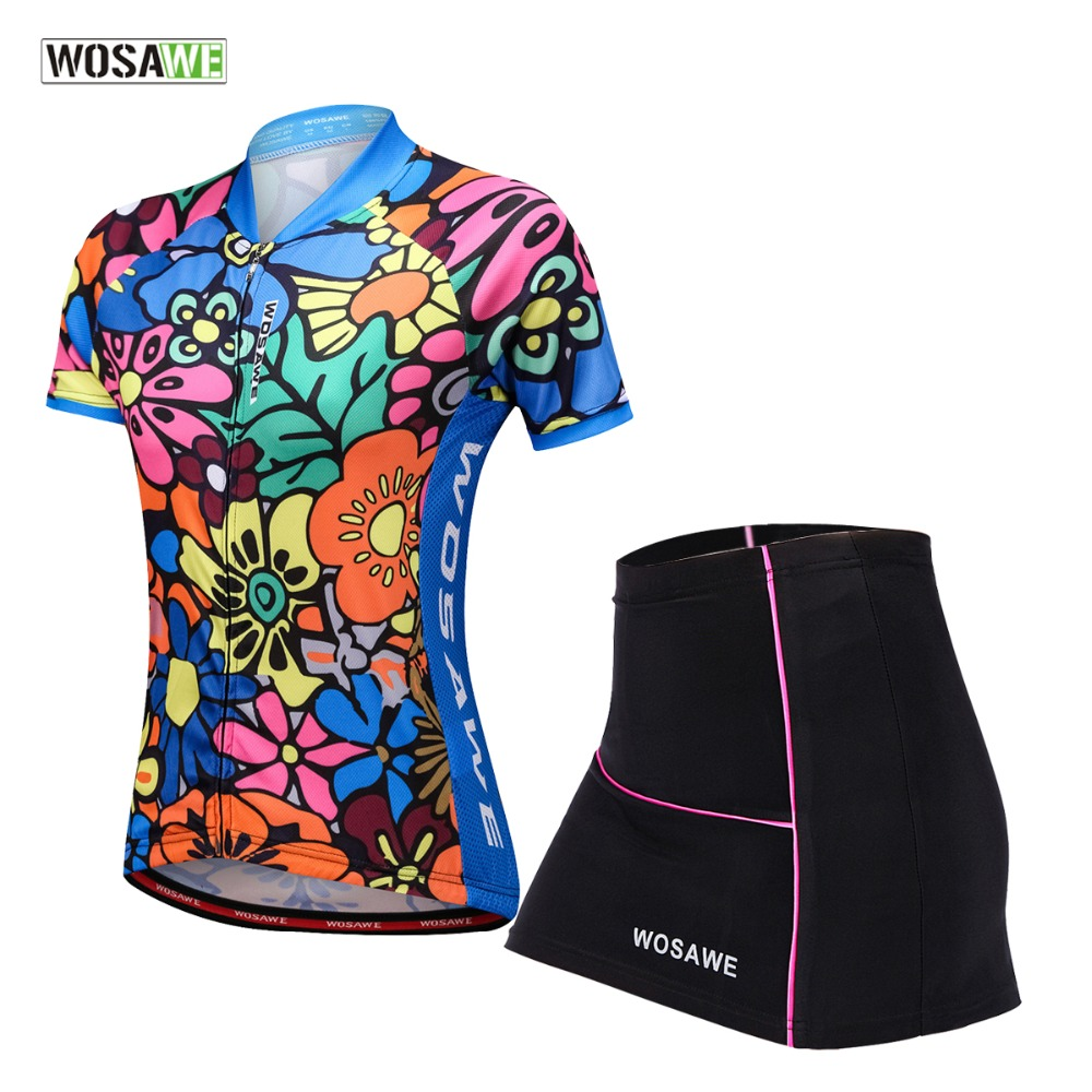 WOSAWE Women Cycling Jersey Mini Skirt Bike Clothing Breathable Bicycle Wear Short Sleeve Jersey Sets Printing Cycling Clothing in Cycling Sets from Sports Entertainment