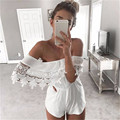 Rompers Womens Jumpsuit 2017 Beach Casual Strapless Off Shoulder Crochet Short Sexy Lace Bodysuit White Casual Overall Playsuit