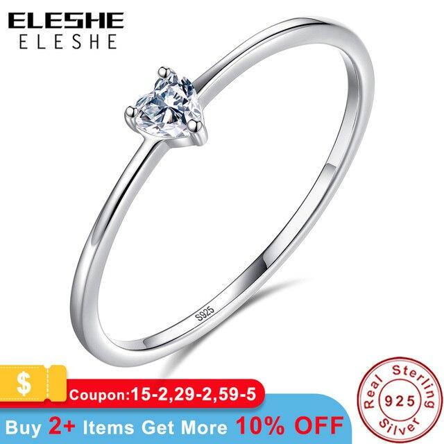 ELESHE Xác Thực Nữ Bạc 925 Nhẫn Pha Lê Đơn Giản Trái Tim Nhẫn Cưới cao cấp cho Nữ Chính Hãng Trang Sức Bạc