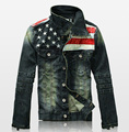 2016 Nova Mens Jaqueta Bandeira Americana Terno Jaqueta Jeans de Retalhos de Couro PU Washed Afligido Antigo Do Vintage Jaqueta Jeans Para Homens