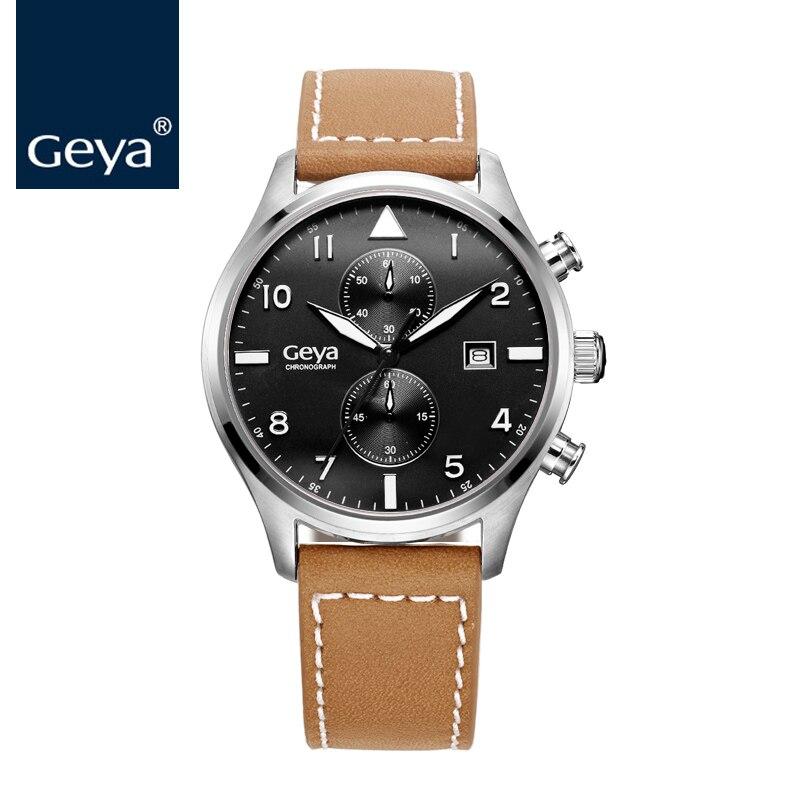 Geya Japan Miyota Movement Men Wristwatch Luxury Brand Fashion Leather Belts Quartz Clock Chronograph Outdoor Sports Male Watch цены онлайн