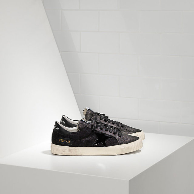 Free shipping New Golden Goose Scarpe Donna Uomo MAY in bonded fabric with leather  star BLACK GLITTER SUEDE 68a59e69f225