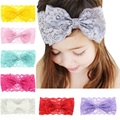 Baby Top Knot Lace Headbands for Girls kids Baby Hair Accessories Girls Lace Bow Elastic Girls Headwraps 8 colors 1pc HB357
