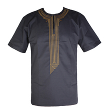 Arabic Embroidery Tops Men`s Islamic  T-shirt Henley Collar Muslim Clothes Short Caftan Tunic