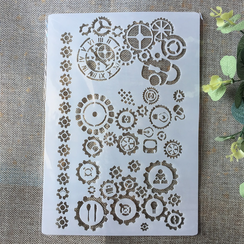 A4 Gear Wheel DIY Layering Stencils Painting Scrapbook Coloring Embossing Album Decorative Paper Card Template