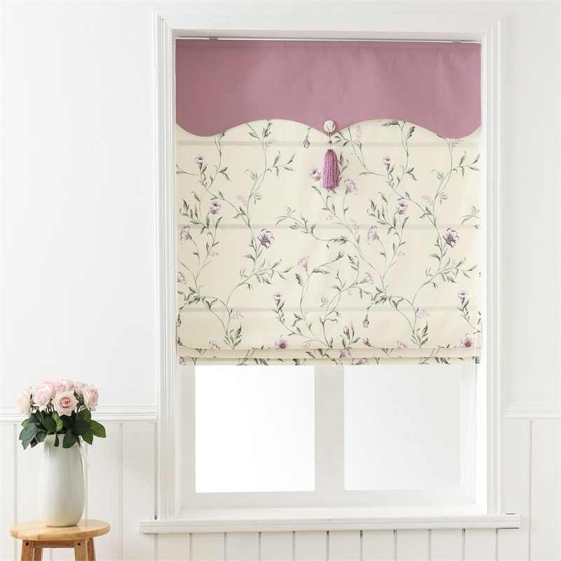 SunnyHouseware Rural Luxury Blackout Cotton Linen Printed Roman curtains and curtain track for lving room