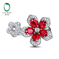 Romantic 18K White Gold 1.22ct Natural Red Ruby 0.17ct Natural Diamond Engagement Ring