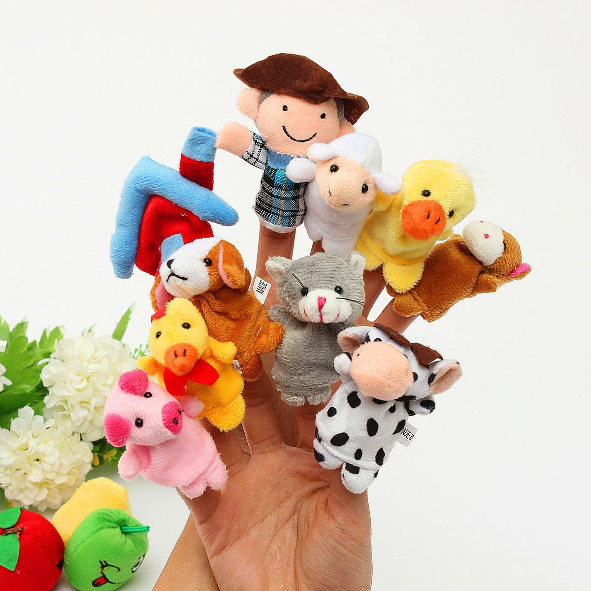 10 Pcs Family Finger Puppets Cloth Doll Baby Plush Toy Educational Hand Talking Props Story Kids Toys For Children Gift