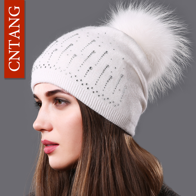 CNTANG Women Wool Knitted Caps Fashion Autumn Winter Warm Hats Rhinestone Beanies Natural Raccoon Fur Pom pom Fleece Hat Female