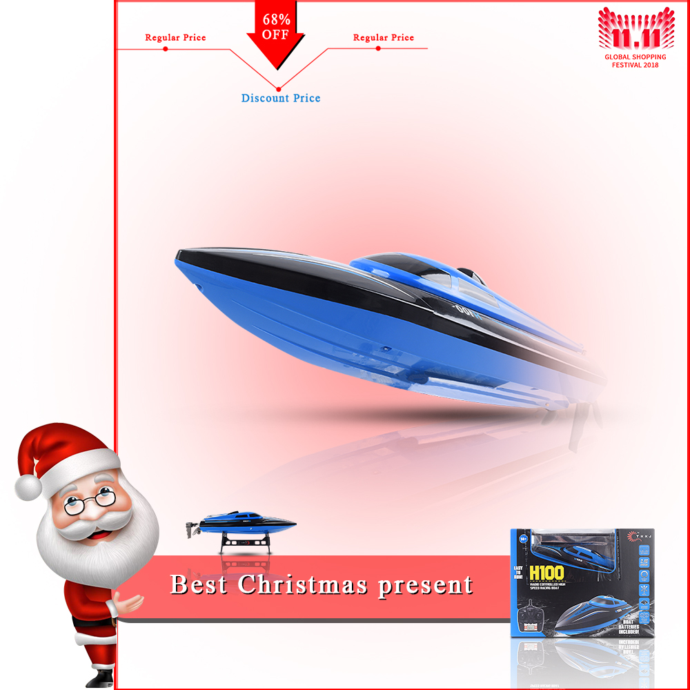 New RC Boat H100 4 Channel High Speed 30km/H Racing Remote Control Boat With LCD Screen For Children Toys Kids Birthday Gift free shipping s700 dragonfly helicopter 4 channel wireless remote control rc plane lcd flight data distribution for kids as gift
