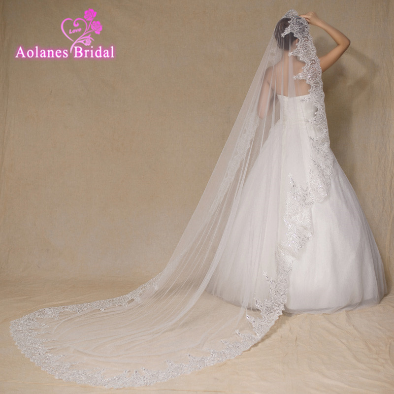 2017 High Quality 3M France Lace Appliques Lace Edge Bridal Mantilla Veil Velo De Novia Wedding Veils Accessories