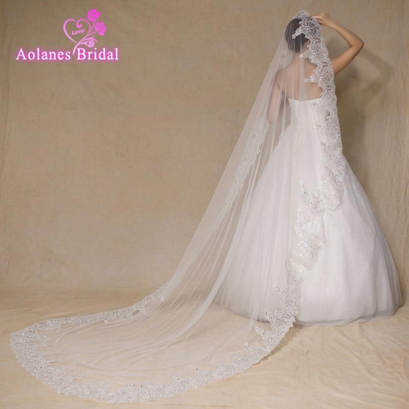 2017 High Quality 3M France Lace Appliques Lace Edge Bridal Mantilla Veil Velo De Novia Wedding Veils Accessories
